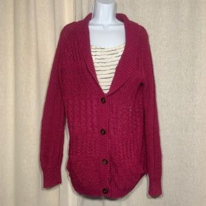 COINCIDENCE & CHANCE CABLE KNIT MAROON CARDIGAN